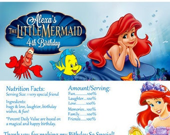 Disney The Little Mermaid Candy Bar Wrapper- Digital file Print as many as you need