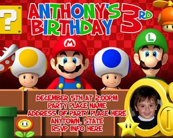Super Mario Brothers Invitation Digital File 4X6 or 5X7