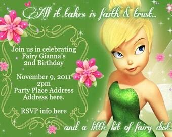 Tinkerbelle Invitation Digital File 4X6 or 5X7