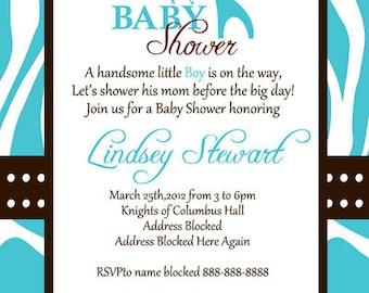 Wild Safari Baby Shower Invitation Digital File 4X6 or 5X7