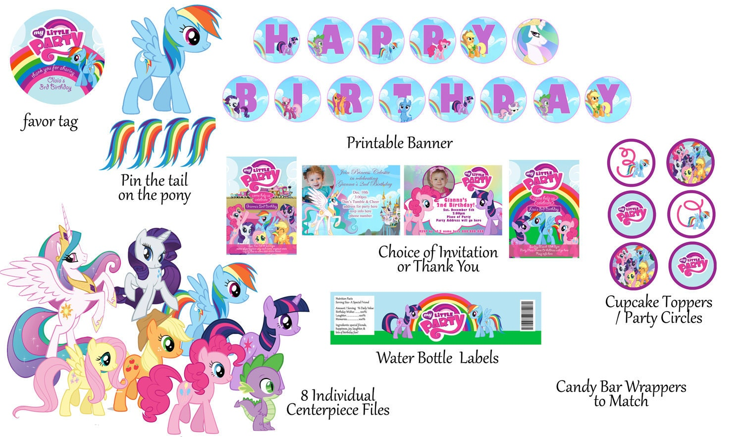sale my little pony birthday package digital by digitalparties. Black Bedroom Furniture Sets. Home Design Ideas