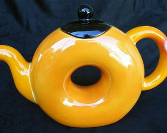 Teapot with 1 matching Cup with hand painted original orange and black design. Unique tea set for one.