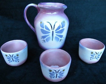 Ceramic pitcher and 3 cups set with original hand cut and airbrushed butterfly stencil design.