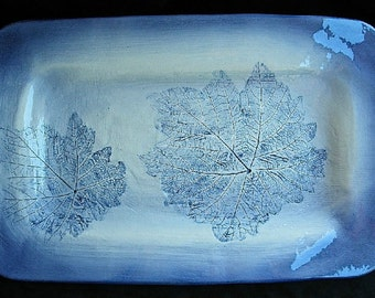 Serving Tray in Cobalt blue with real grape leaf imprints.