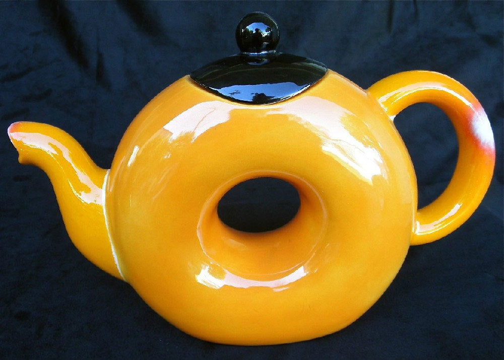 Teapot With 1 Matching Cup With Hand Painted Original Orange