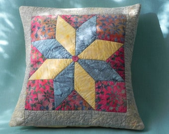 Blue and Yellow Star Pillow Cover