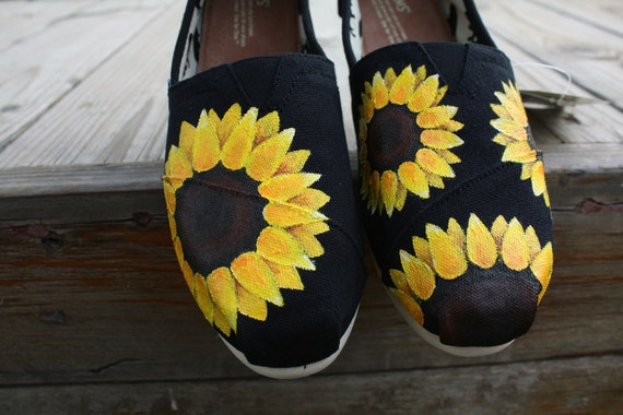 Sunflower Hand Painted TOMS Shoes