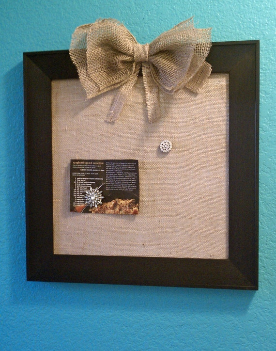Decorative magnetic burlap board with hand-painted black wooden frame