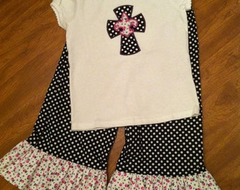 Little girls ruffled pants and ruffled sleeve tee