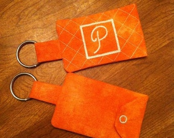 Quilted Monogrammed Cardholder Keychain
