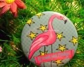 Badge Pink Flamingo
