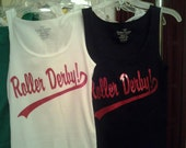 Red Glitter Roller Derby TANK, tank top for the derby girl, roller girl