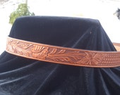 Hand Tooled Leather Belt with Basket Weave and Floral combination