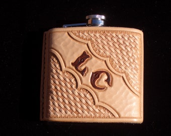 Hand Tooled Leather Flask Cover w/ Flask
