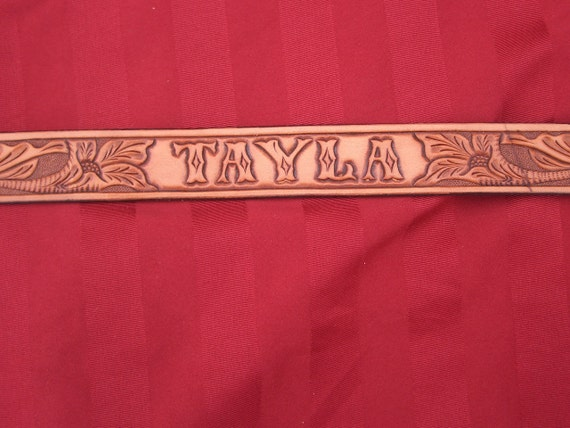 Kids Hand Tooled Leather Belt with Floral combination and Name