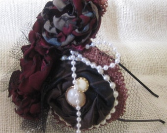 Three Flower Headband Made With Satin, Netting, Burlap, And Faux Pearls With  Button Centers