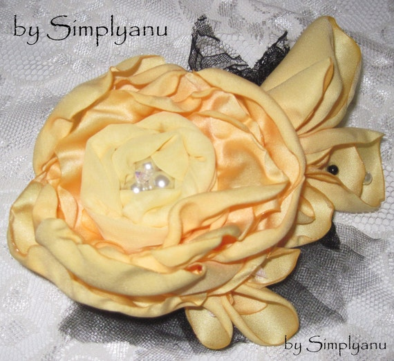 Large Sophisticated Yellow Hair Fascinator, with a Yellow Chiffon Rosette In The Center, Surrounded by Lace and Netting