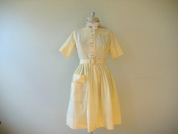 Vintage Yellow Dress / 1950's Shirt Dress / Yellow Day Dress / Vintage Rockabilly