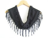 Black Scarf With Lace / Turkish Handmade Scarf / High Fashion Shawl With Oya / Black Pashmina