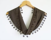 RESERVED-Brown Scarf With Lace / Handmade in Turkey / Spring Fashion Shawl / Brown Pashmina