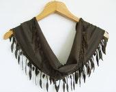 Brown Scarf With Lace / Turkish Handmade Scarf / High Fashion Shawl With Oya