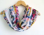 White Scarf With Colorful Flowers / Turkish Handmade Shawl / High Quality Pashmina / Summer Flowers Scarf