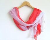 Red Shawl / Handmade Turkish Scarf / High Quality Pashmina / Red White Scarf