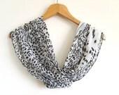 Leopard Print Scarf / Leopard Shawl / Leopard Neck Bow Tie / Women's Bow Tie Scarf / Turkish Handmade Scarf / Gauzy Scarf