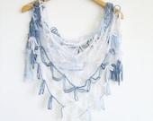 Crochet Scarf / Blue White  Scarf / Crochet Shawl / High Fashion Scarflette / Blue Crochet Pashmina
