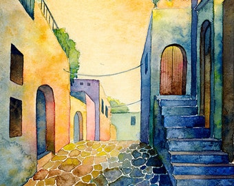 Greece 2 - print, watercolor, 13 X 18 cm, town, street, warm, Mexico, Spain, vivid colors, expressionist, free shipping