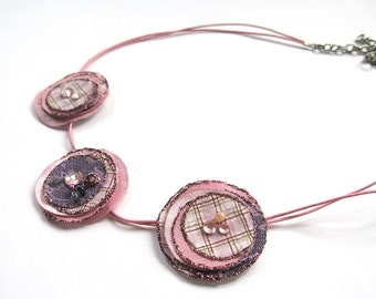 Necklace - flowers made of upcycled cotton fabric, pink and purple, spring, summer