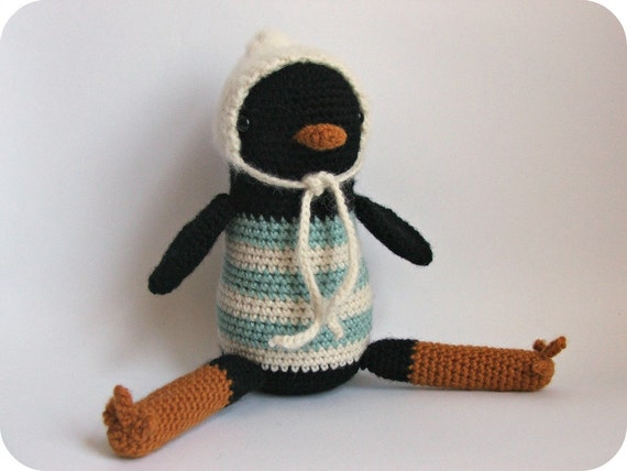 Ervin the Blackbird - Crocheted Amigurumi Plush
