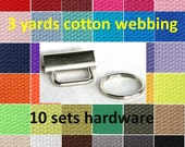 3 yards Cotton Webbing You Pick Color 1 1/4 inch plus 10 sets Hardware