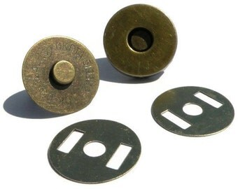 Magnetic Snap 18mm 10 sets 4mm thick Antique Brass-colored