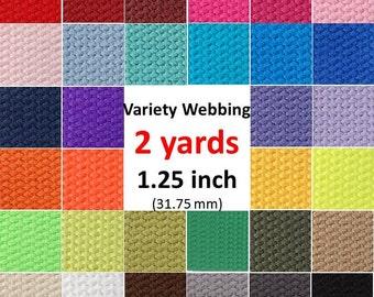 Cotton Webbing You Pick Color 1 1/4 inch Key Fobs 2 yds Key Chain Purse Bag Purse Straps Leash