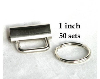 Key Fob Hardware 1 inch Nickel Plated 50 sets