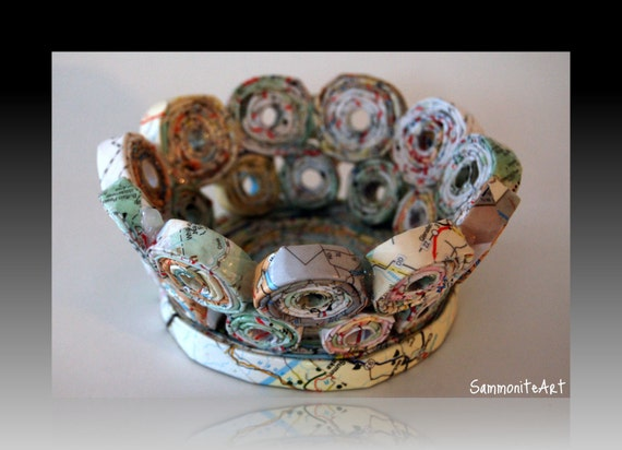 """Unique Small Map Bowl. """"Off to small places"""""""