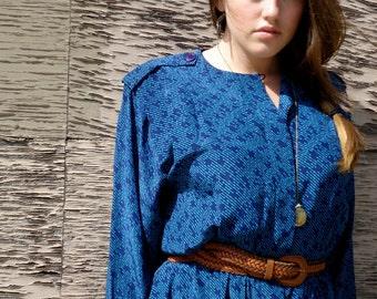 Detailed Blue Vintage Dress