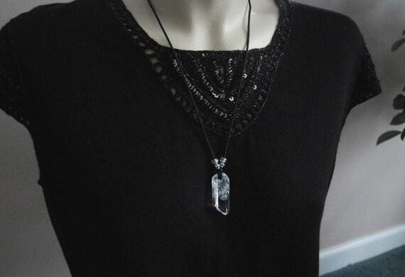 Very clear ARKANSAS Quartz crystal pendant w/ rainbows - sooo nice.