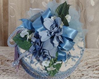 Blue Victorian Keepsake / Hat Box in Waverly Print -  Small Round Vintage Style - Handmade