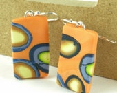 Polymer clay earrings - tangerine, periwinkle, navy, green, and yellow (OB-R-P-1)