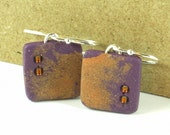 Polymer clay earrings - purple and copper color (PC-S-B2-1)
