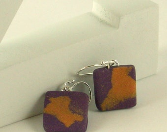 Polymer clay earrings - purple and copper color (PC-S-P-2)