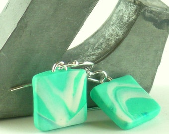 Polymer clay earrings - teal, turquoise, and white (TW-S-P-4)