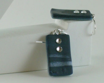 Polymer clay earrings - silver color on blue (BS-R-2C-1)