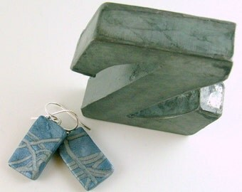 Polymer clay earrings - pale blue with silver (BS-R-P-1)