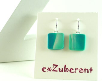 Polymer clay earrings - teal, turquoise, and white (TW-S-P-3)
