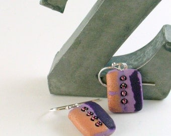 Polymer clay earrings - copper color on purple (PC-FR-4B-2)