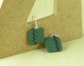 Polymer clay earrings - green and blue (GB-S-3B-2)