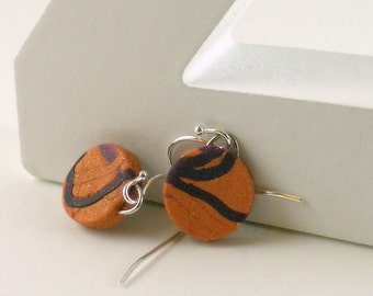 Polymer clay earrings - purple on copper color (CP-C-P-2)